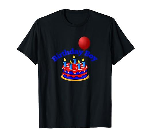 Happy Birthday Boy Blue Cake Candles Red Balloon T Shirt