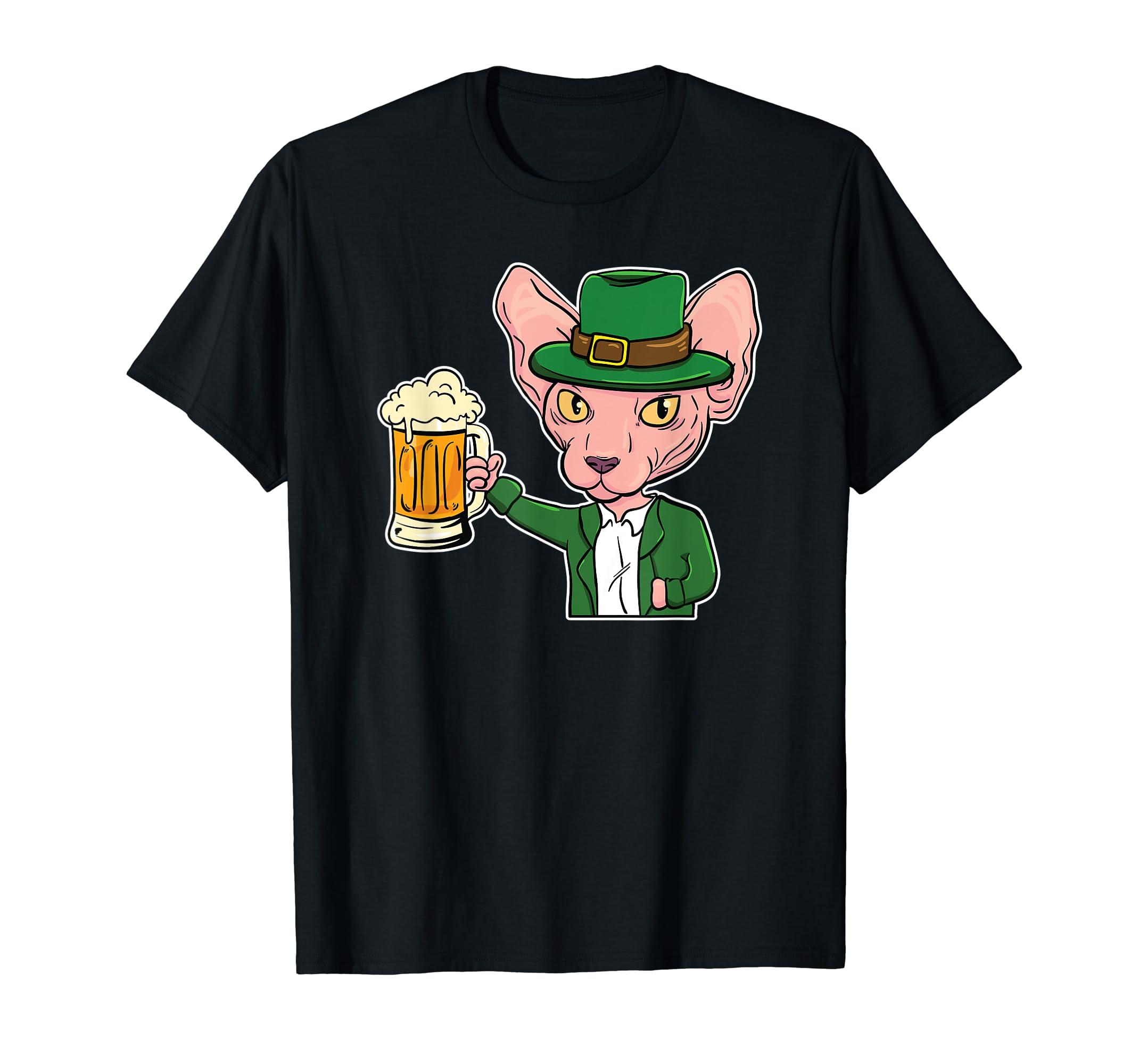 Amazon com: Sphynx Cat Leprechaun St  Patricks Day Beer T