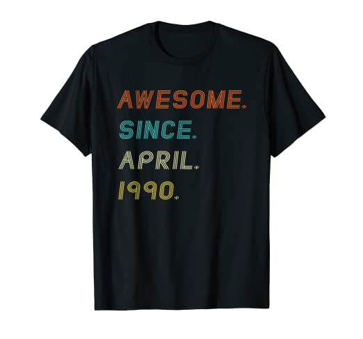 Amazon Awesome Since April 1990 Shirt Vintage 29th Birthday