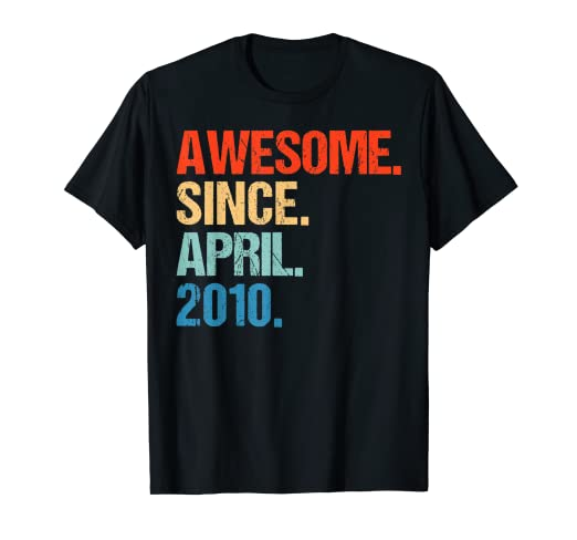 Amazon Born In April 2010 9 Years Old T Shirt 9th Birthday Gift