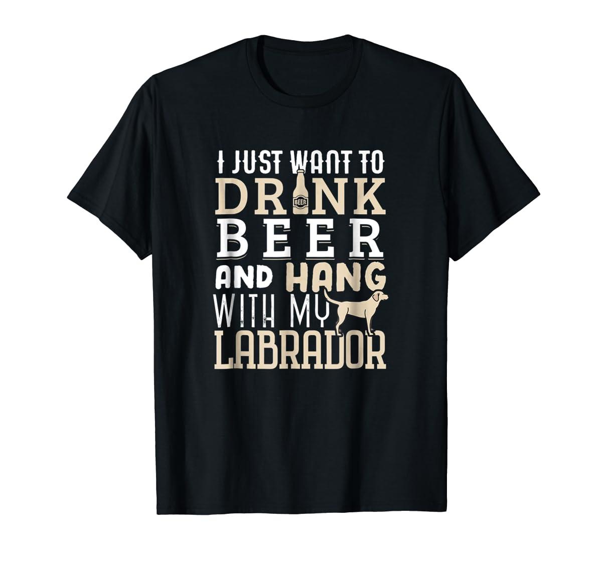 Labrador Dad Shirt Funny Father's Day Lab Retriever Dog Beer-Men's T-Shirt-Black