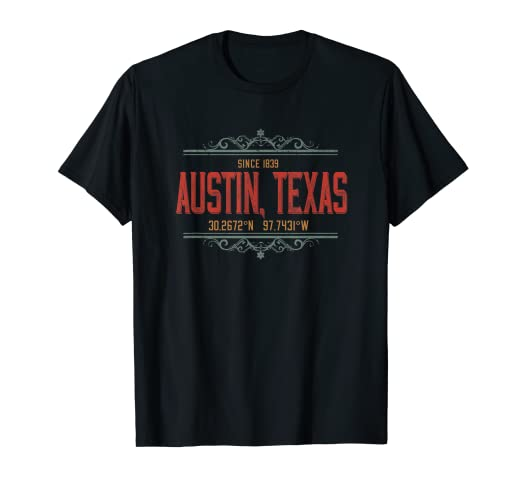 Amazon.com: Austin Texas Vintage T Shirt GPS MAP LAT LONG ... on