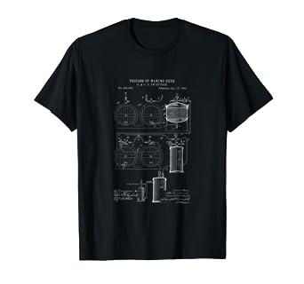 Beer Brewing Patent Brewery Blueprint T-Shirt Brewer Gift