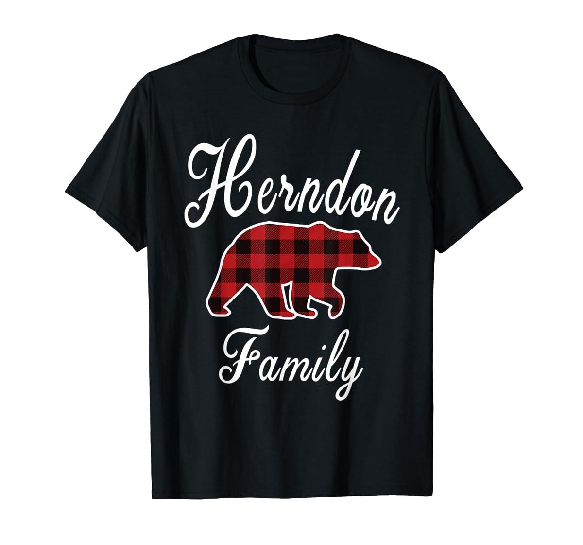 HERNDON Family Bear Red Plaid Christmas Pajama Gift T-Shirt-Men's T-Shirt-Black