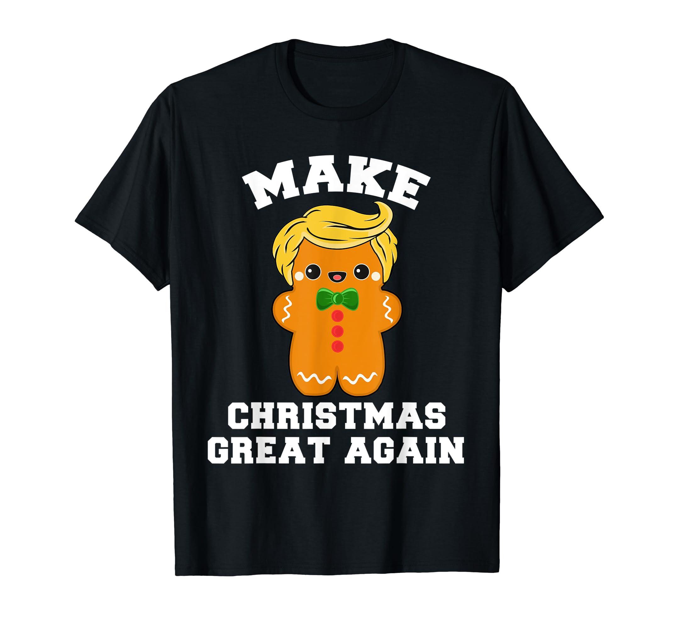 Funny Trump Christmas Gingerbread Man Tee Cute Fun Men Women T-Shirt-Men's T-Shirt-Black