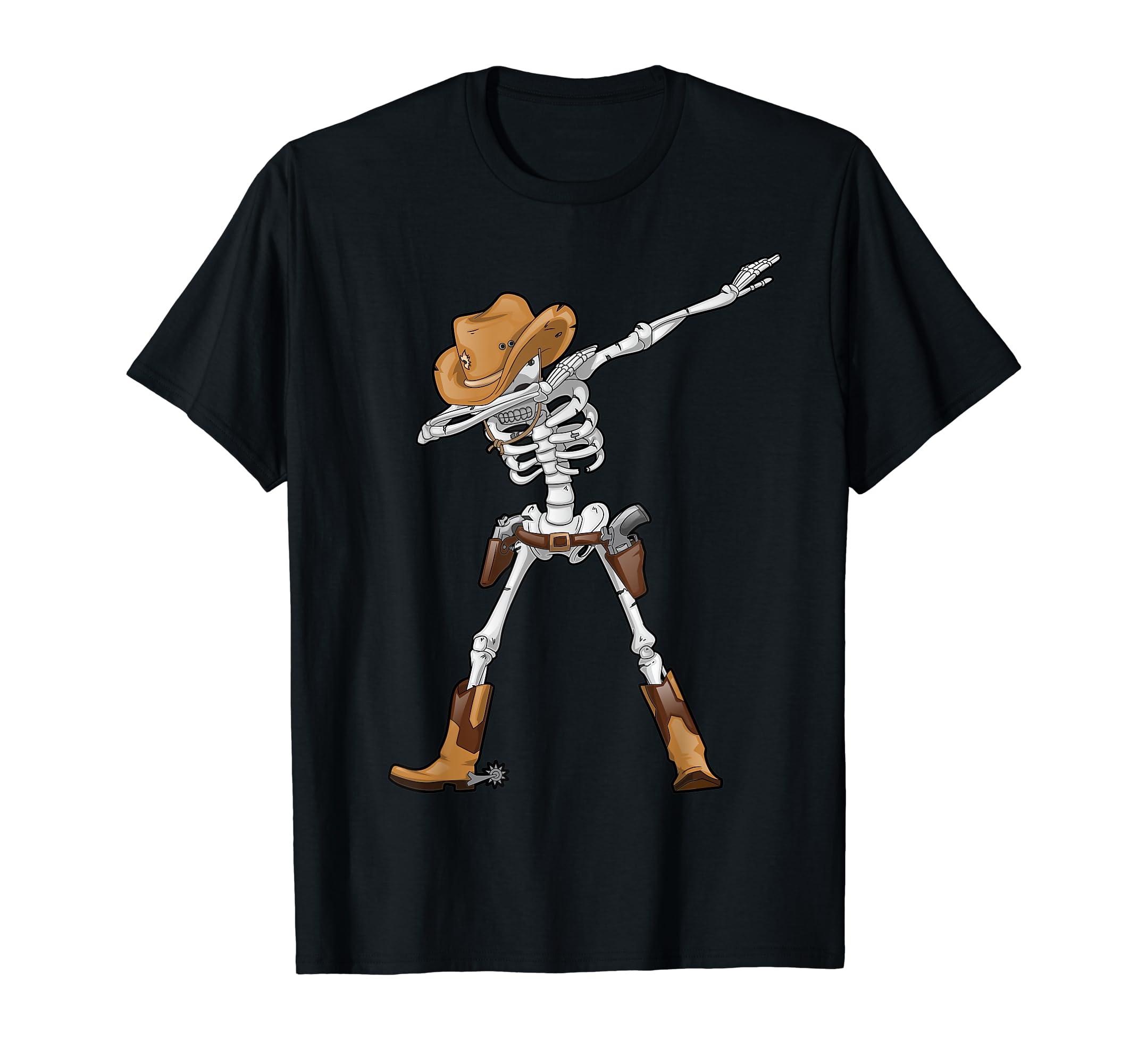 Dabbing Skeleton T Shirt Cowboy Hat Halloween Kids Boys Dab-Men's T-Shirt-Black