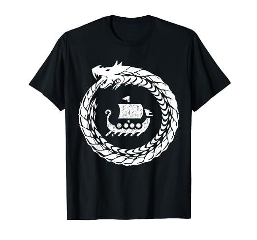 1dbf025f Norse mythology Viking T Shirt Ship & Dragon Beast Shirt
