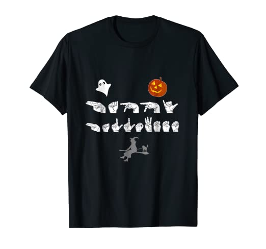 99c6c0bb Image Unavailable. Image not available for. Color: ASL Happy Halloween Sign  Language T-Shirt