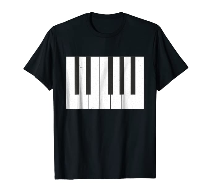 Piano Keyboard large graphic Tee Shirt for piano music fans