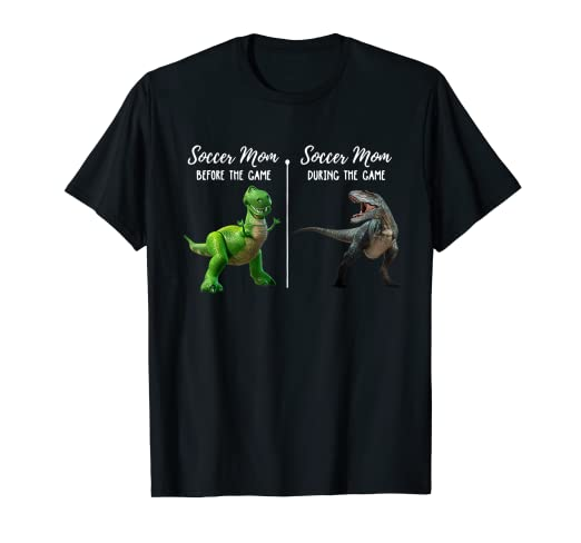 922de9a4 Image Unavailable. Image not available for. Color: Soccer Mom Before During  The Game Funny Dinosaur T-shirt