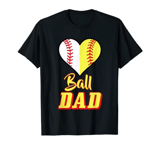 a966eeee9 Image Unavailable. Image not available for. Color: Mens Softball Baseball Dad  T-Shirt Sport Father's Day Shirt Gift