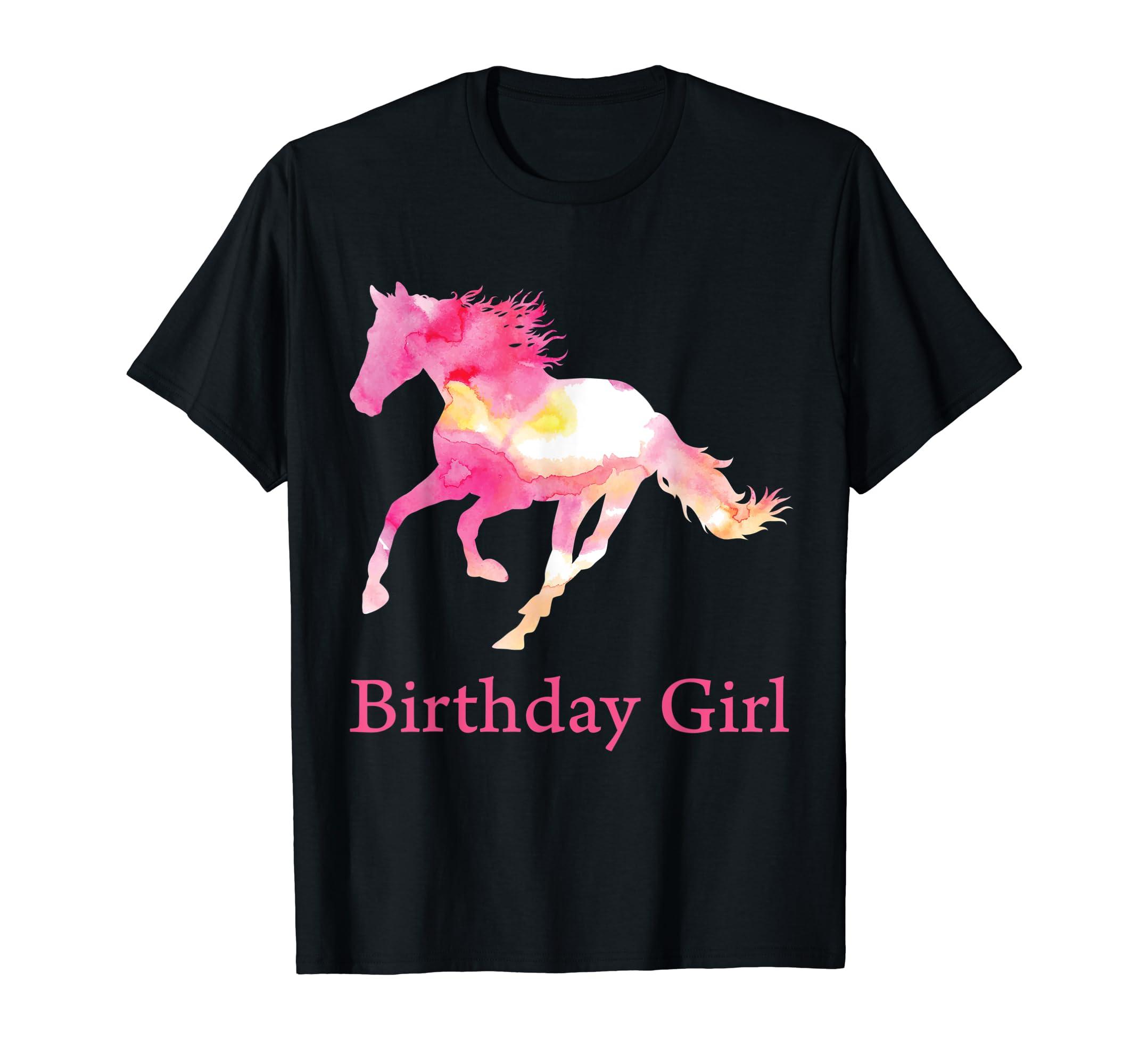 Kids Birthday Pink Watercolor Horse Gift T-Shirt for Girls-Men's T-Shirt-Black