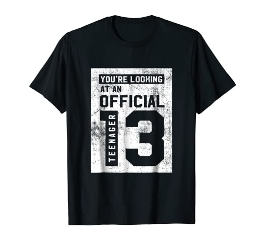 Amazon Com Official Teenager 13th Birthday T Shirt Gift Clothing