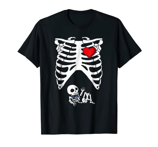 3cc0d3bb Amazon.com: Pregnant Baby Boy Mom Skeleton Halloween Costume T-Shirt:  Clothing