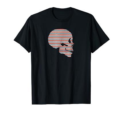 Skull Profile with USA American Flag Strips Tee Shirt