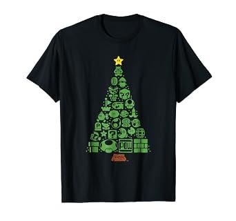 Christmas Mario Png.Super Mario Item Characters Christmas Tree Graphic T Shirt