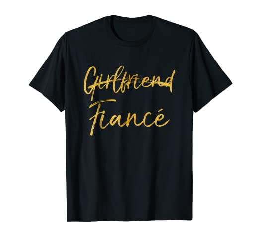 e3b1cceb Image Unavailable. Image not available for. Color: Not Girlfriend Fiance  Shirt Cute Gold Engaged Engagement Tee