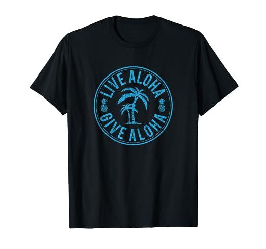 09203525 Amazon.com: Vintage Live Aloha Give Aloha Palm Tree T-shirt: Clothing