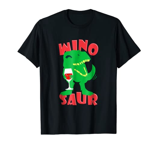 2f916e7eb Image Unavailable. Image not available for. Color: Funny Wine Dinosaur T- shirt Drinking T-rex Shirt Winosaur