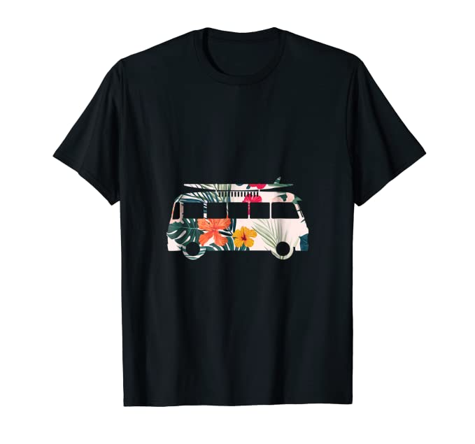 Flowers Surfer Van graphic Tee Shirt with tropical theme