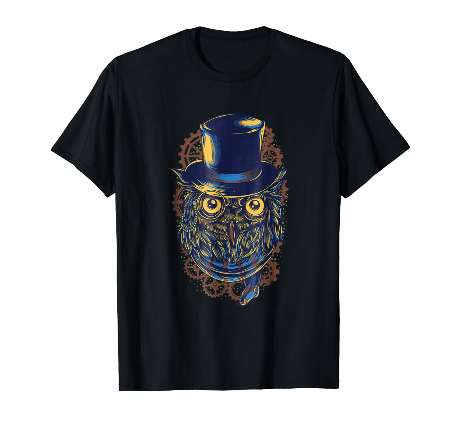Steampunk Owl T-Shirt Top Hat Gears Great Stocking Stuffer