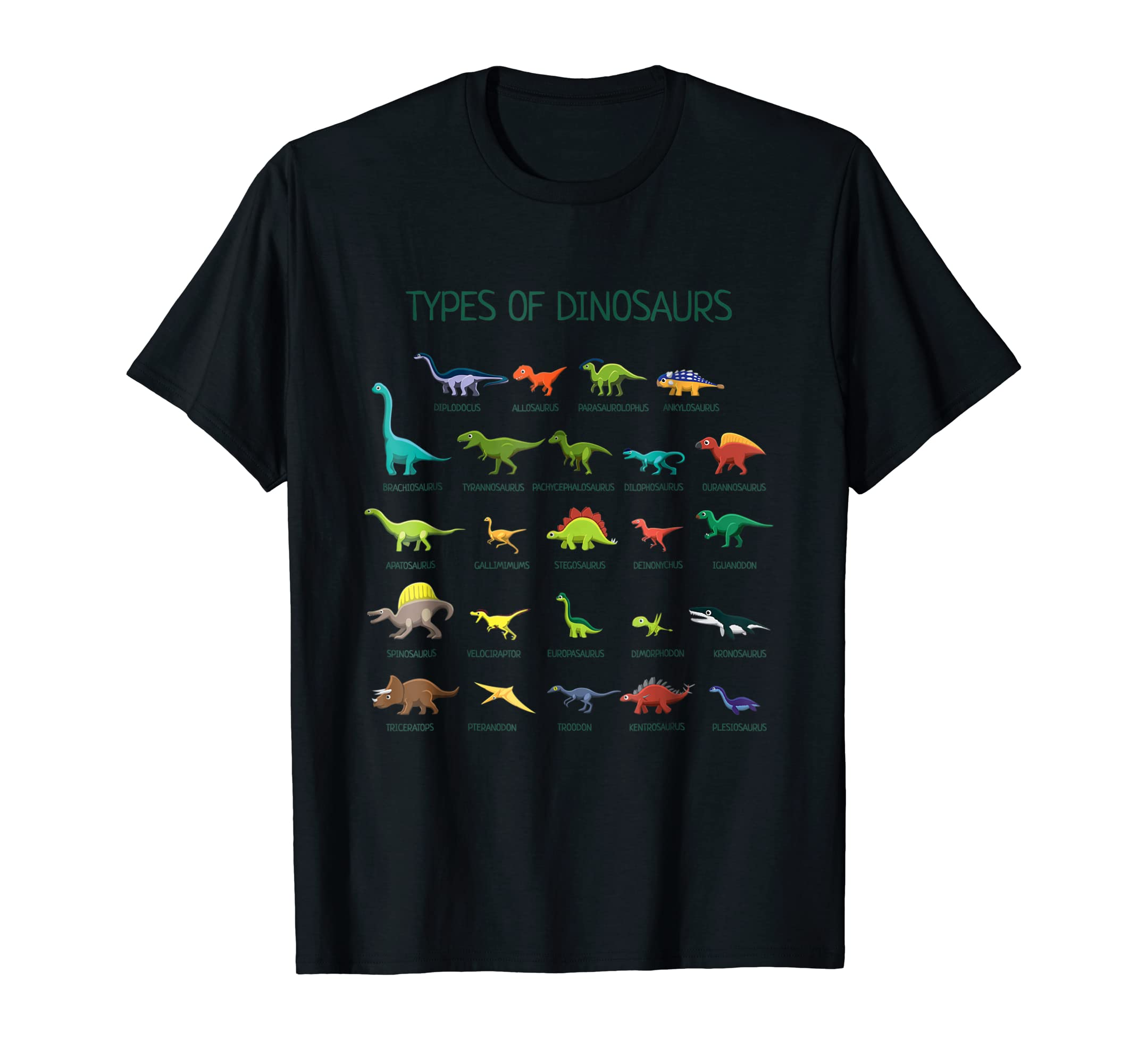 Types Of Dinosaurs T-Shirt Cute Dinosaur Tee-Men's T-Shirt-Black