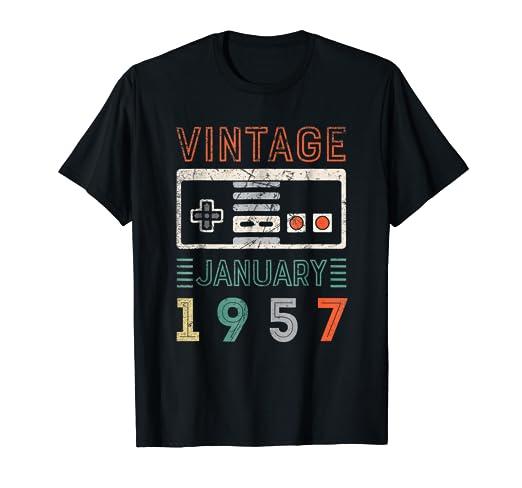 Amazon Vintage January 1957 62nd Birthday Shirt 62 Year Old