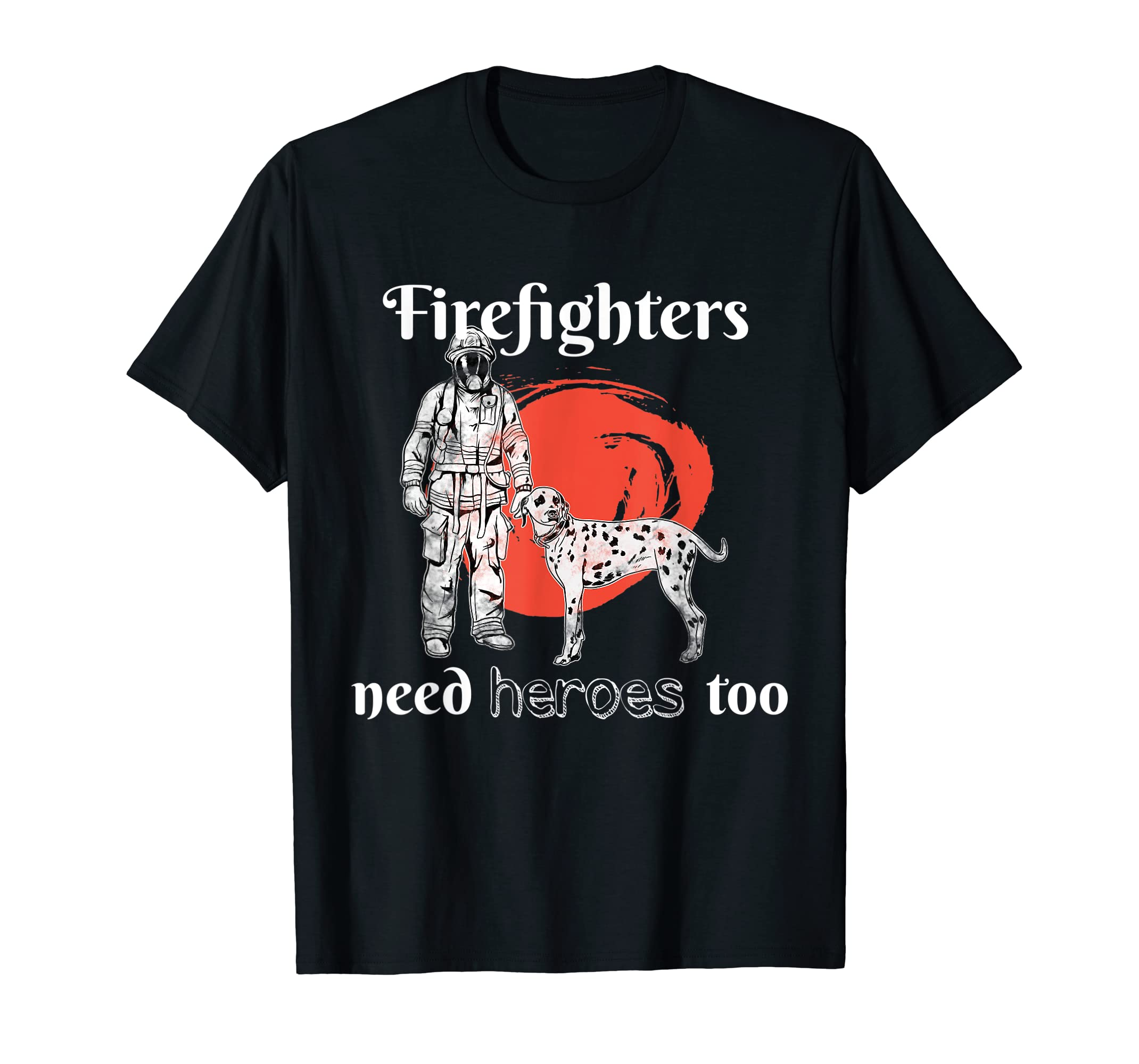 Father's Day Firefighter Dalmatian Dog Gift  T-Shirt-Men's T-Shirt-Black