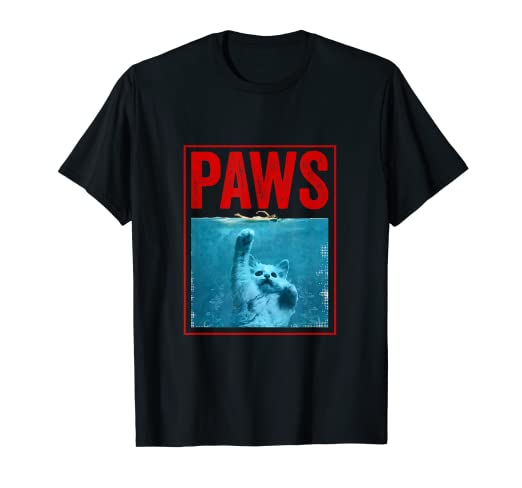 ee962acf546 Amazon.com  PAWS Funny Cat Kitten T-Shirt For Shark And Cat Lovers ...