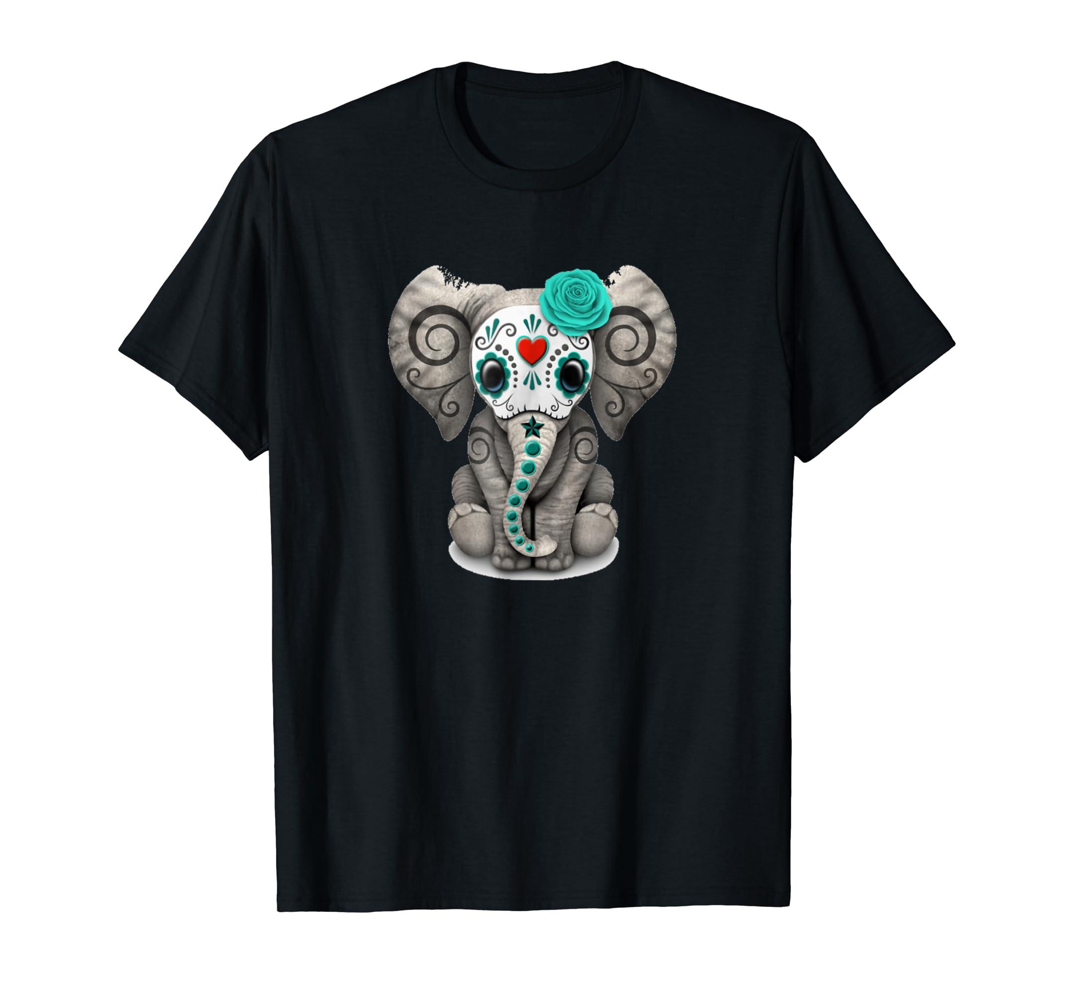 Sugar Skull Elephant T shirt Day Of The Dead Halloween Shirt-Men's T-Shirt-Black