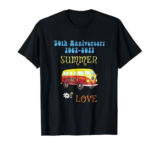 ea131b2f1 Amazon.com: 50th Anniversary Summer of Love Hippie Peace Van T-shirt ...