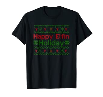 Amazoncom Happy Elfin Holiday Ugly Christmas Sweater Shirt Clothing