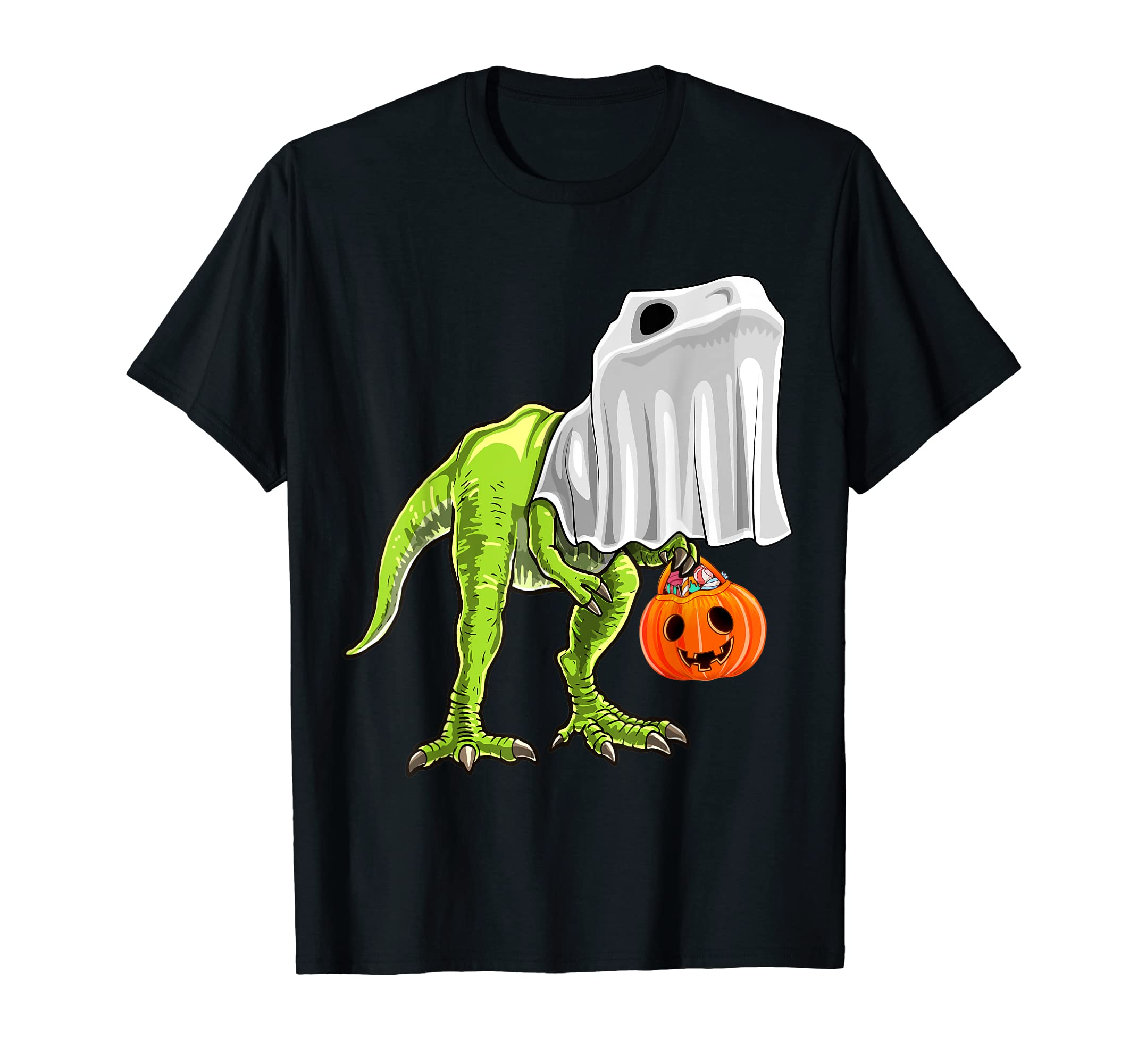 Halloween T Rex Dinosaur Ghost Trick or Treat Shirt Kids-Men's T-Shirt-Black