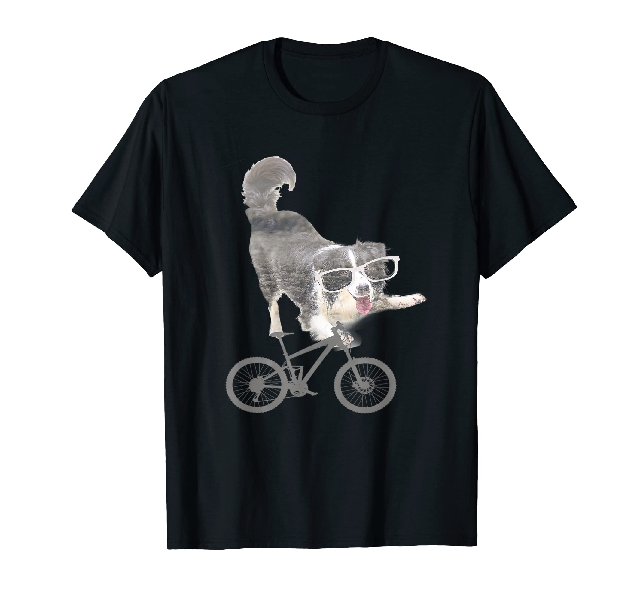 Border collie on a Bicycle T-shirt-Men's T-Shirt-Black