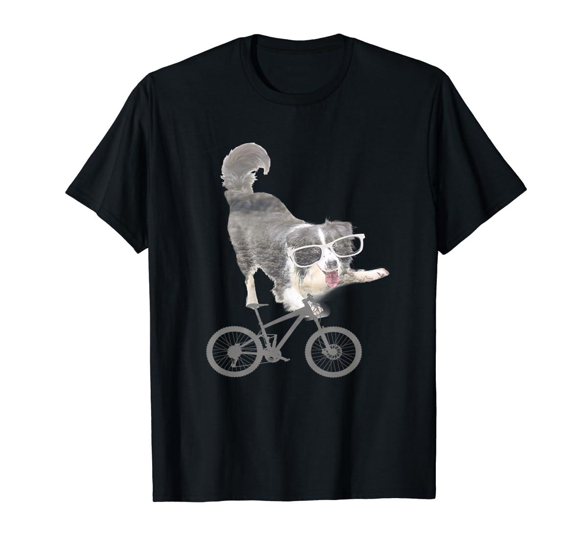 Border collie on a Bicycle T-shirt-Men's T-Shirt-Black
