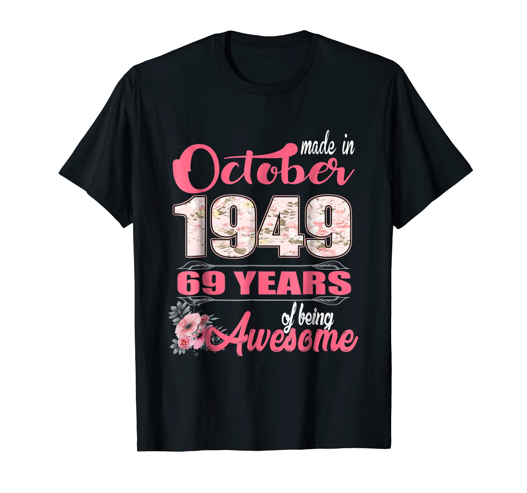 Womens Made in October 1949 Shirt 69 Years old birthday gift-ln