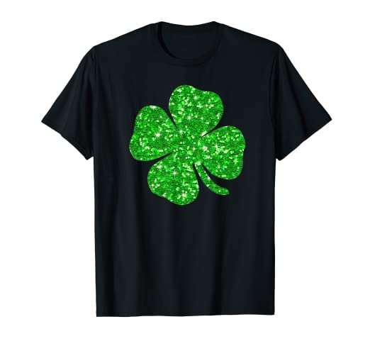 a729d3e5b Image Unavailable. Image not available for. Color: St. Patrick's Day  Glitter T Shirt: Green Shamrock Glitter
