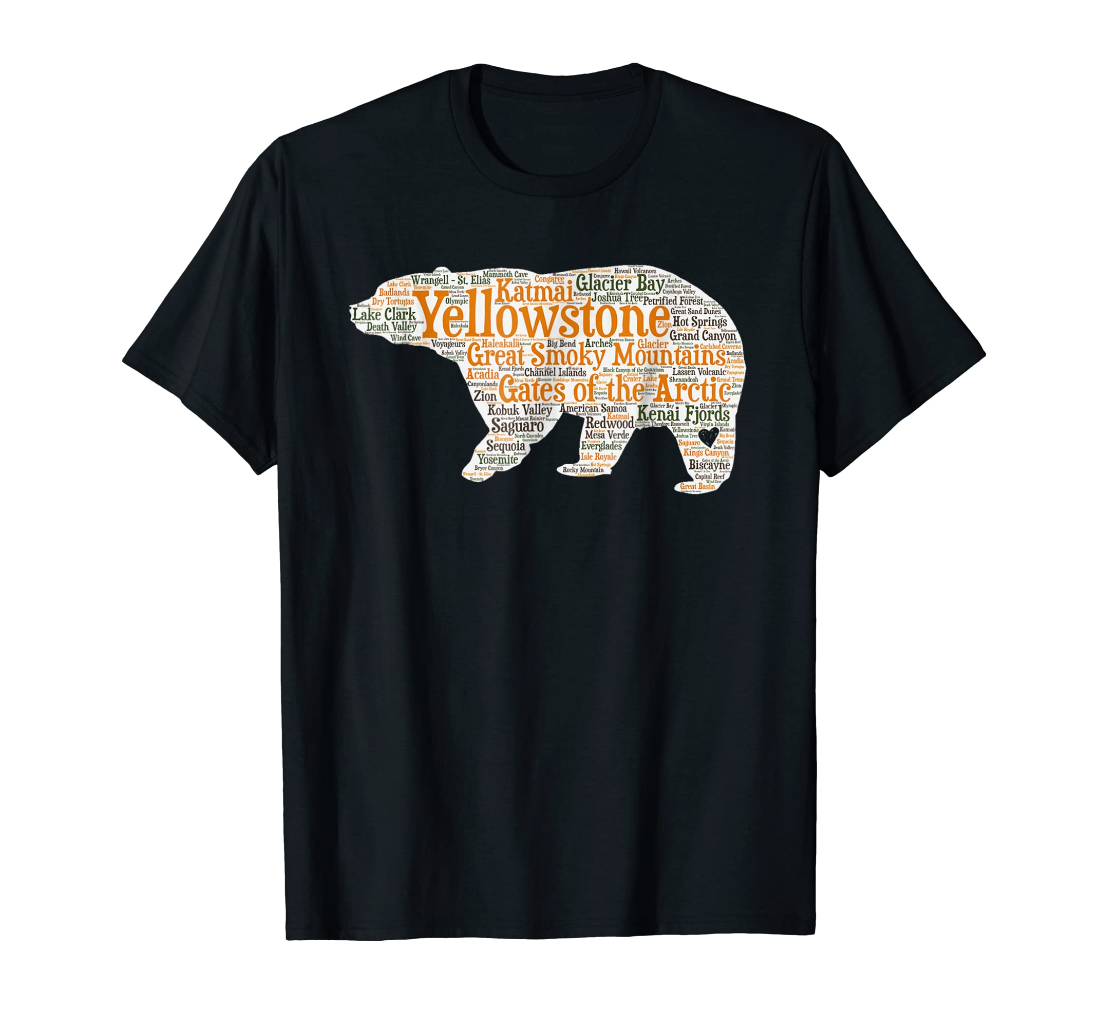 53e2446ba Amazon.com: National Parks T Shirt All 59 National Parks Shirt: Clothing