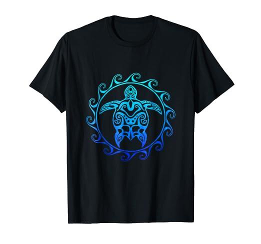 ca753394b Amazon.com: Ocean Blue Tribal Hawaiian Sea Turtle T-shirt: Clothing