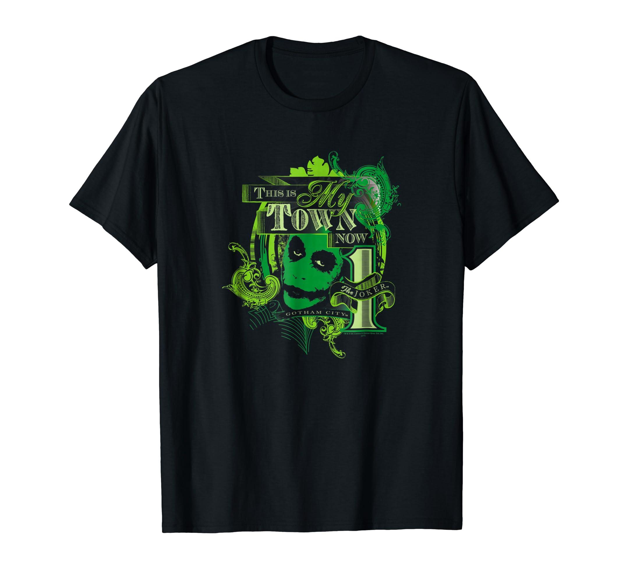 9d9858dd Amazon.com: Batman Dark Knight Joker My Town Now T Shirt: Clothing