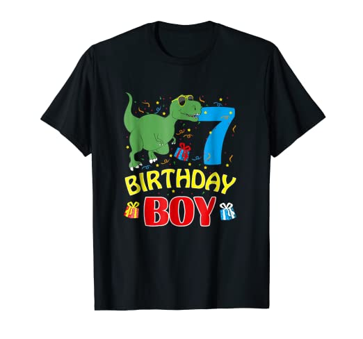 Amazon 7th Birthday Gift Shirt Boys Bday Dinosaur 7 Years Old