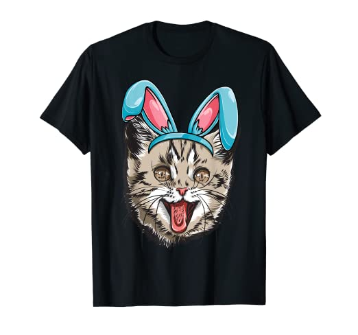 85859c74 Image Unavailable. Image not available for. Color: Easter Bunny Cat T shirt  Kitty Kitten Girls Boys Kids Women