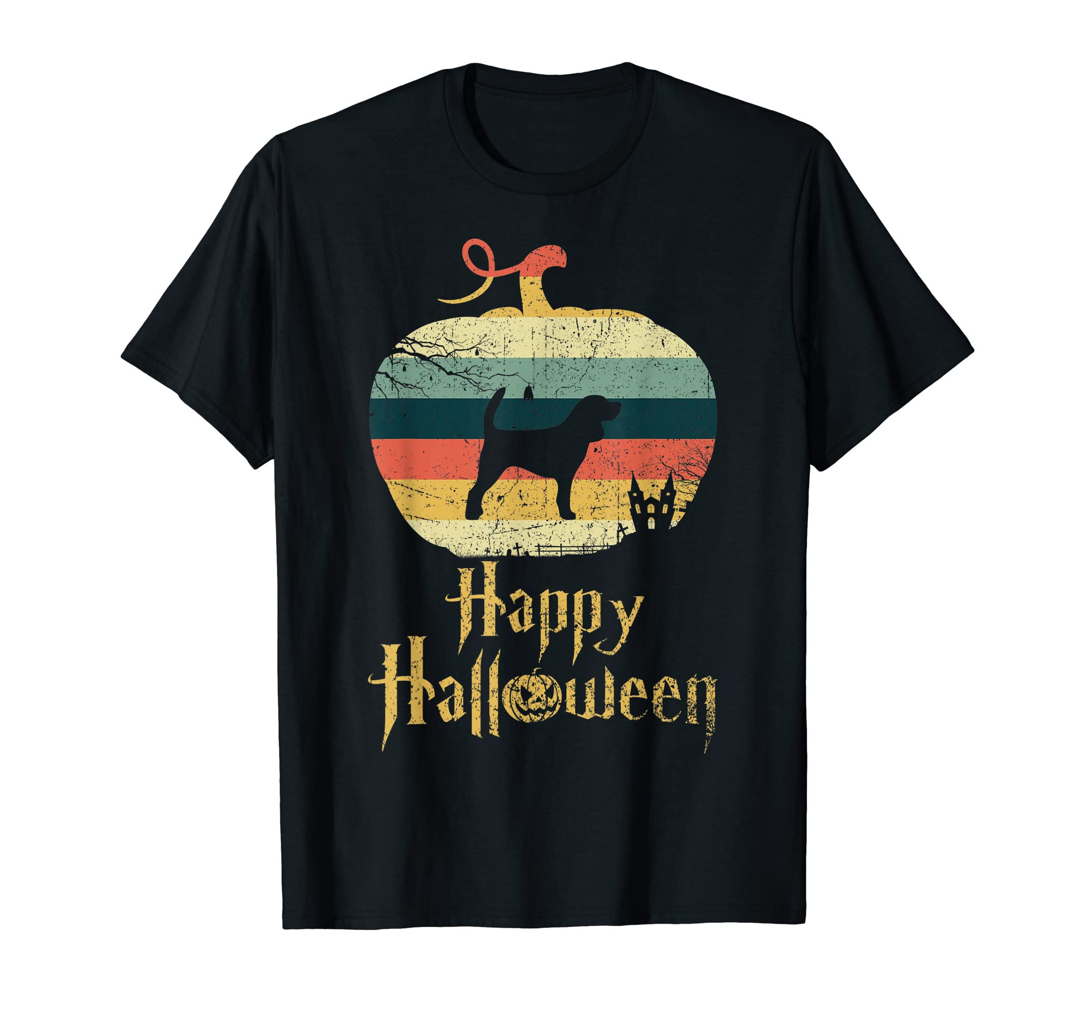 MINIATURE BEAGLE In Pumpkin Vintage Retro Happy Halloween T-Shirt-Men's T-Shirt-Black