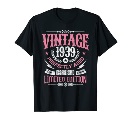 Amazon Vintage 1939 80th Birthday 80 Yrs Old Perfectly Aged T