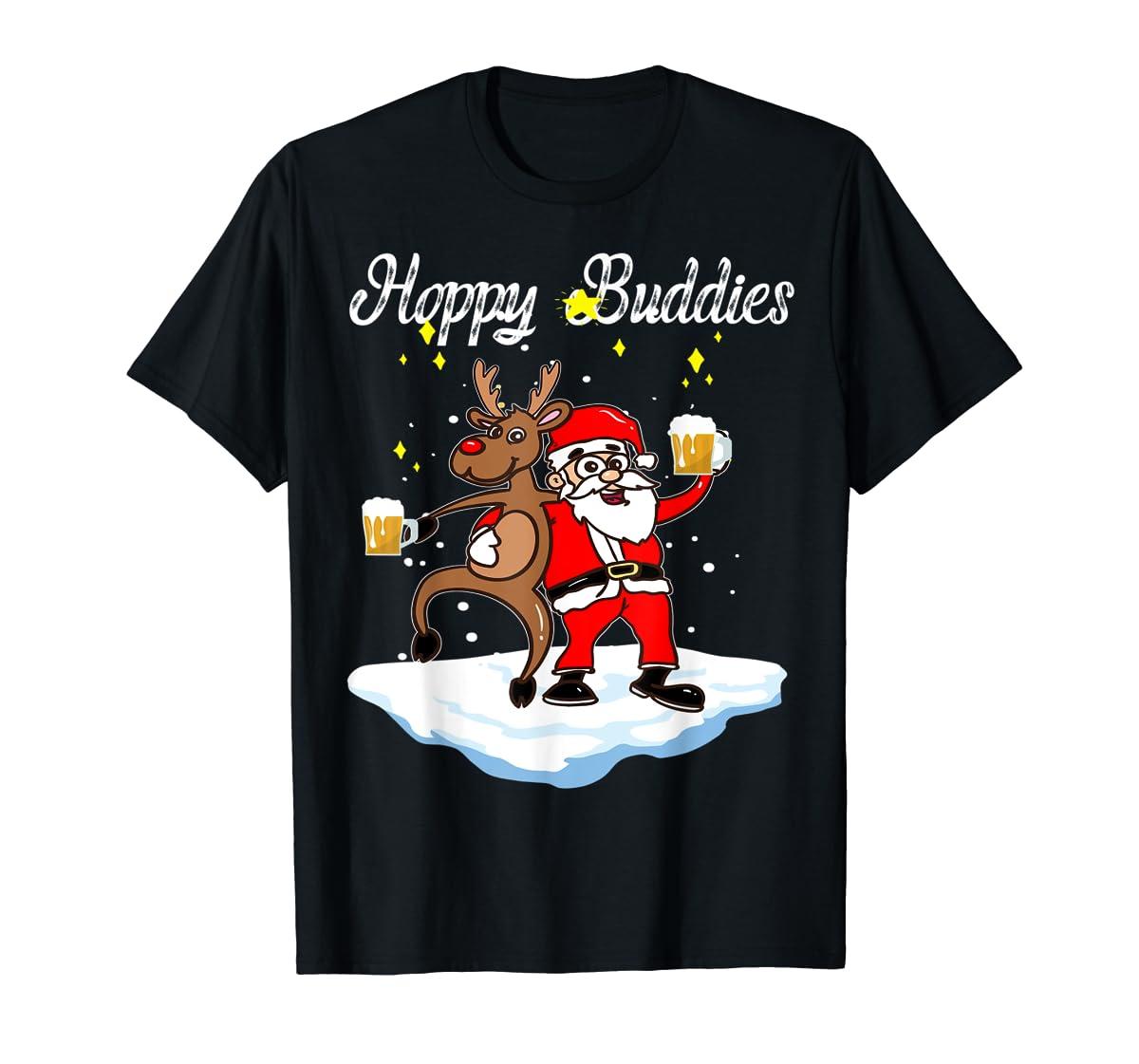Santa Dancing Reindeer Beer Drinking T-Shirt Christmas Party T-Shirt-Men's T-Shirt-Black