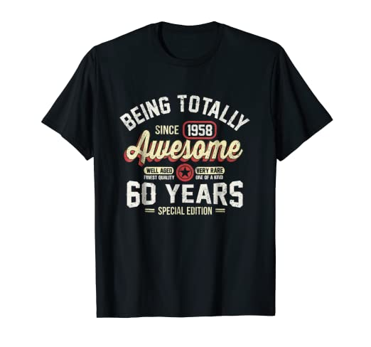a7bfb4bc9 Image Unavailable. Image not available for. Color: 60th Birthday Gift  Vintage 1958 T-Shirt Men Women