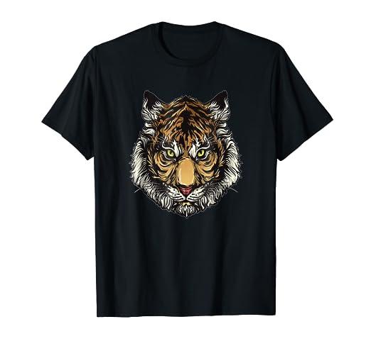 b1129f873065 Amazon.com: Tiger Design Animal Face T-Shirt: Clothing