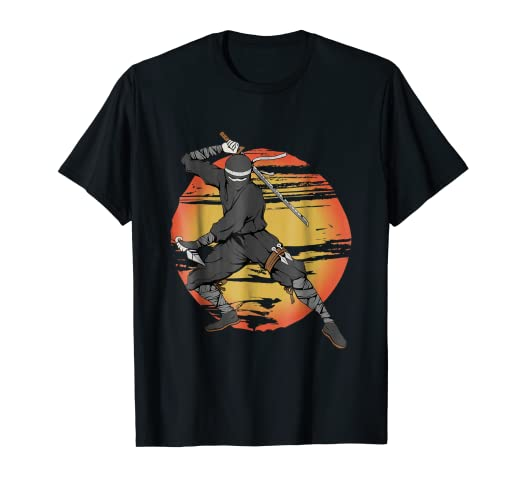 Amazon.com: Japanese Ninja T-shirt Sun Background: Clothing