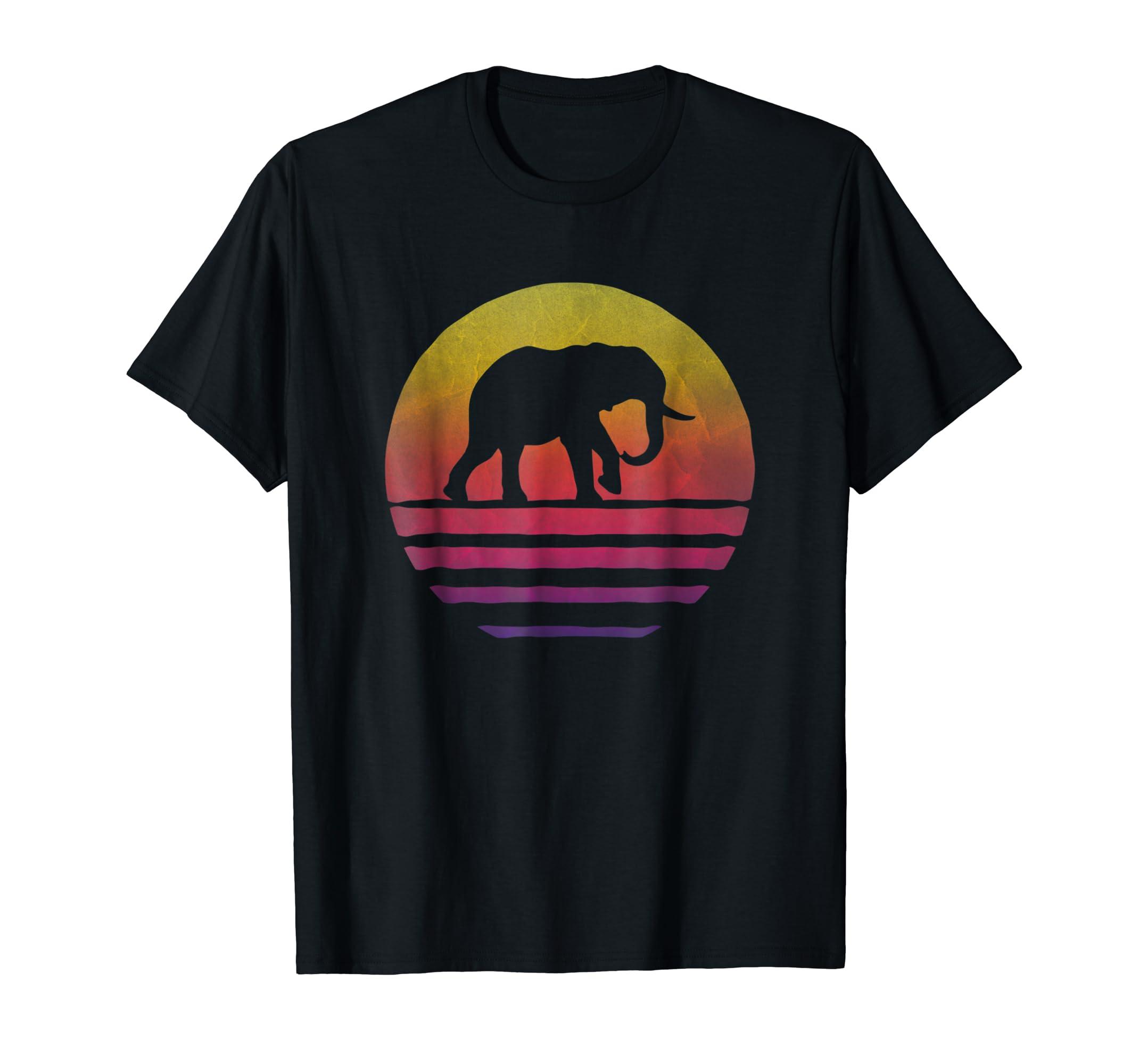 Elephant Shirt Retro Vintage 70s Boho Distressed Women Men-Men's T-Shirt-Black