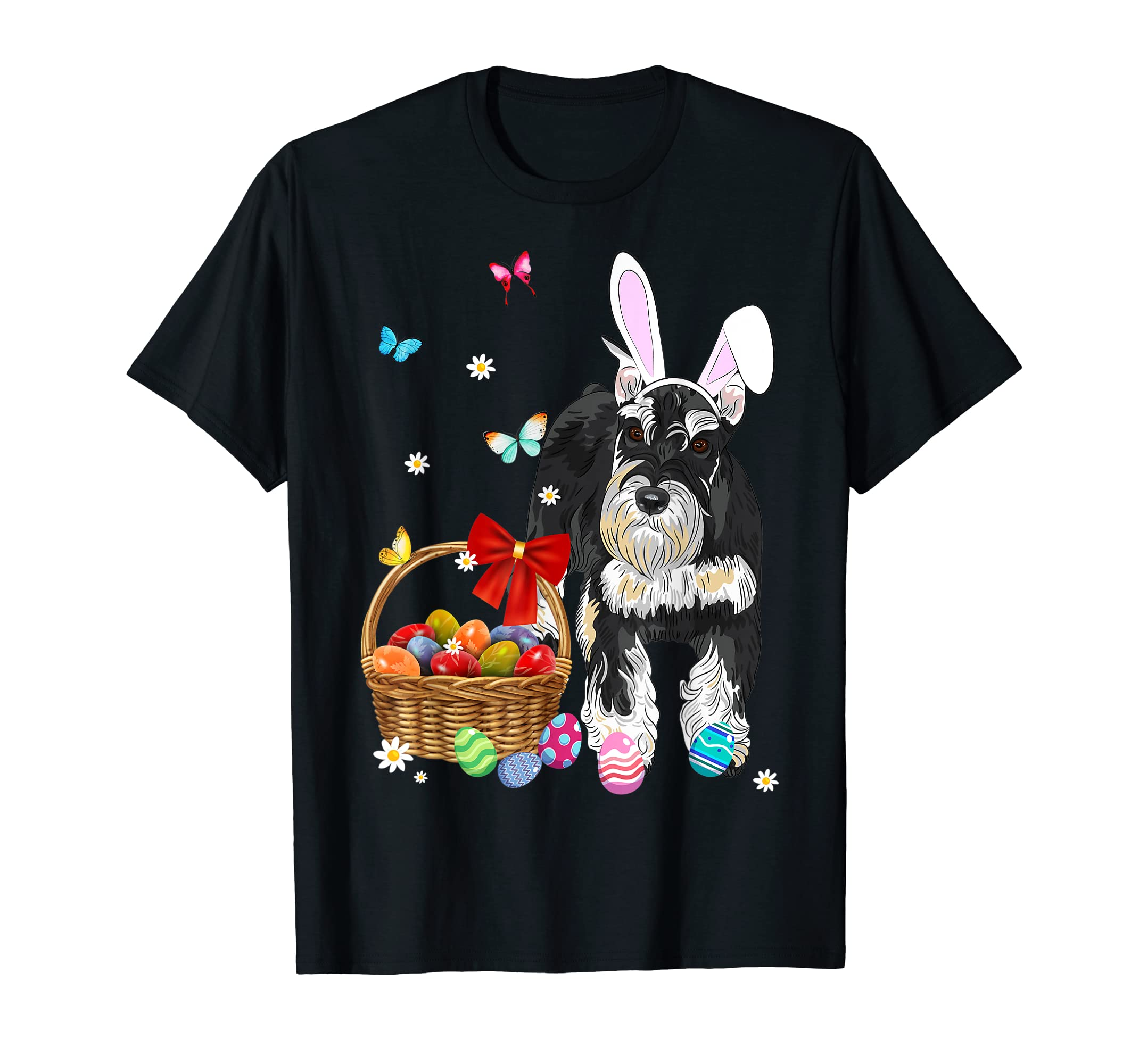 Miniature Schnauzer Bunny Ear Easter Eggs Easter Tshirt-Men's T-Shirt-Black